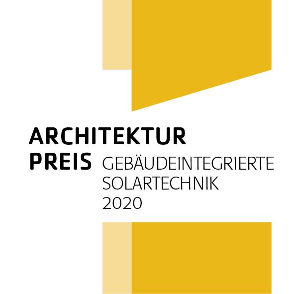 Zu sehen ist das Logo vom Architekturpreis Gebäudeintegrierte Solartechnik.