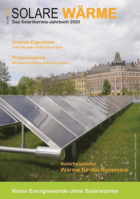 Zu sehen ist der Titel des Solarthermie-Jahrbuchs 202. Denn trotz aller digitalen Kommunikation ist Print weiterhin ein wichtiges Medium.