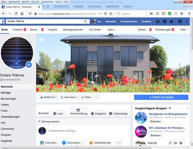 Zu sehen ist die Facebook-Seite des Solarthermie-Jahrbuchs als Beispeil für Solarthermie in den Social Media.