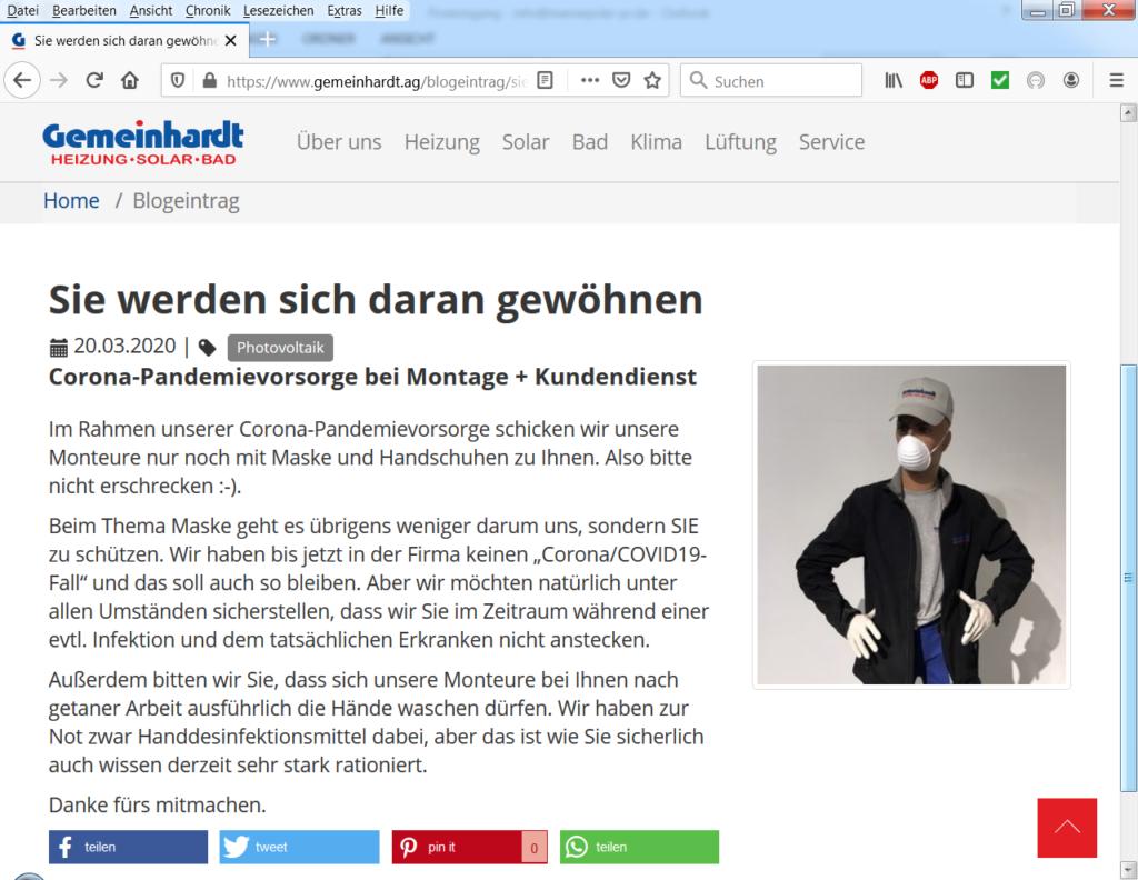 Der Installationsbetrieb Gemeinhardt nutzt Social Media für sein Solarthermie Angebot.