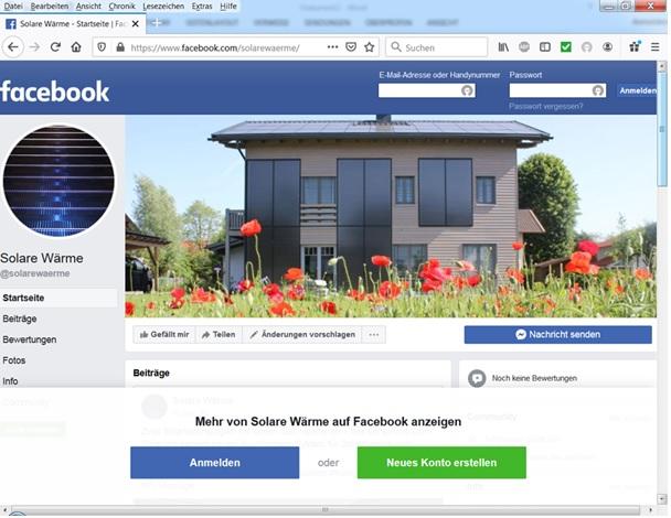 Zu sehen ist die Facebook-Seite Solare Wärme, die ein neues Solarthermie-Forum werden soll.