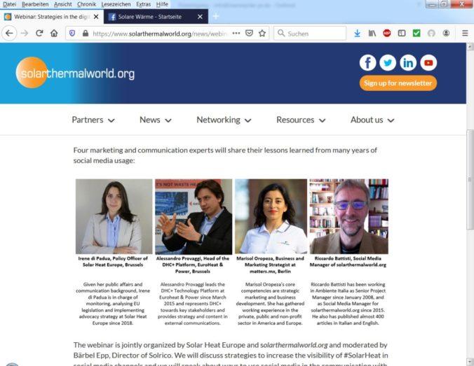 Social Media Experten aus der Solarthermie Branche informieren über digitale Strategien