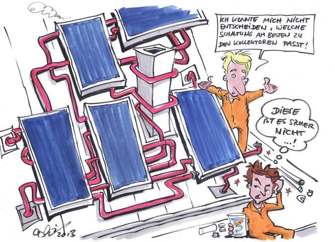 Wirre Rohre auf dem Dach: zu sehen ist ein Cartoon von Michael Hüter zur Kollektorfeld-Hydraulik.