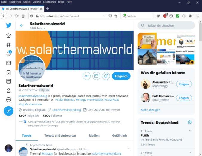 Solarthermie ist bei Twitter ein relevantes Thema, wie dieser Account zeigt.