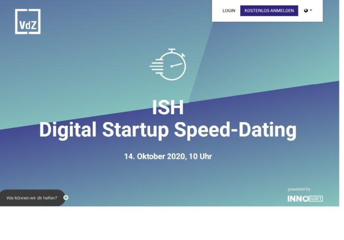 Zu sehen ist ein Screenshot von der ISH Digital Startup Speed-Dating Seite.