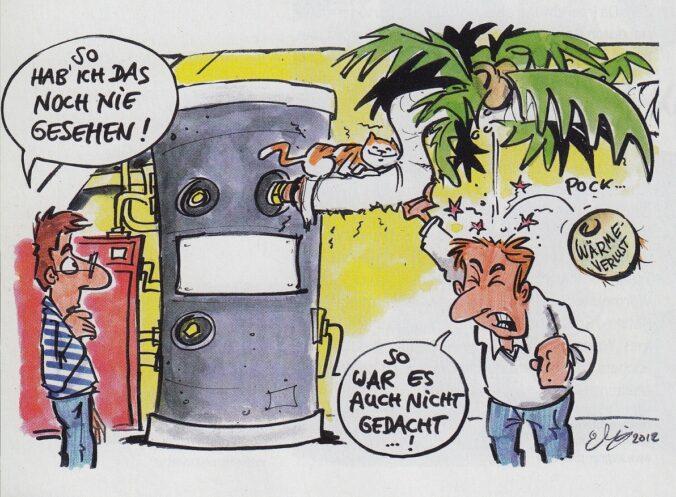 Zu sehen ist ein Cartoon: Eine Palme wächst infolge von Einrohrzirkulation aus dem Heizungsrohr.