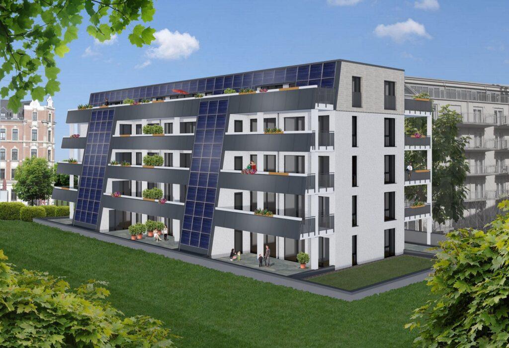 ZU sehen ist ein Gebäude mit einer Sonnenhausheizung in Dresden.