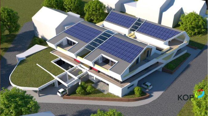 Zu sehen ist ein Beispiel (Amination einer Neubau-Wohnanlage) für die Solarthermie in der Stadt der Zukunft.