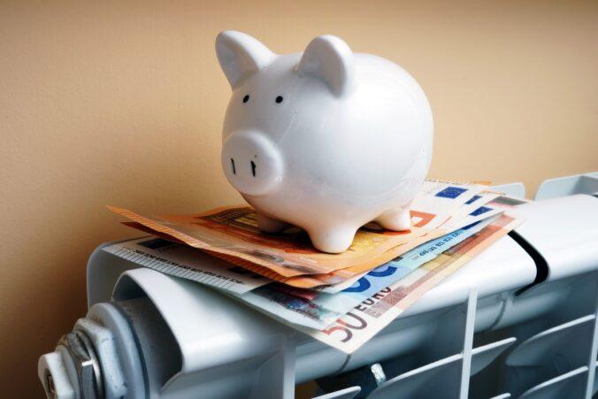 Ein Sparschwein auf dem Heizkörper als Symbol dafür, dass Energie nicht billig ist.