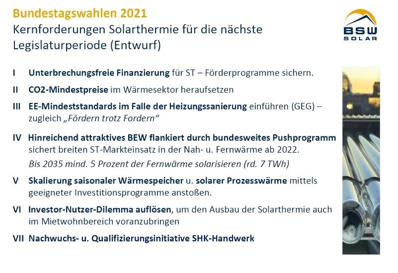 Zu sehen ist eine Folien mit den Forderungen des BSW zum Solarthermie-Markt.Solarthemrie