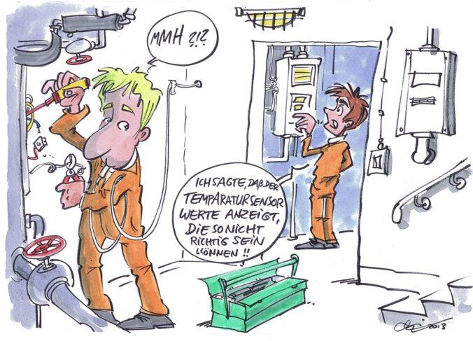 Zu sehen ist ein Cartoon von Michael Hüter zu Temperatursensoren in der Solarthermie.