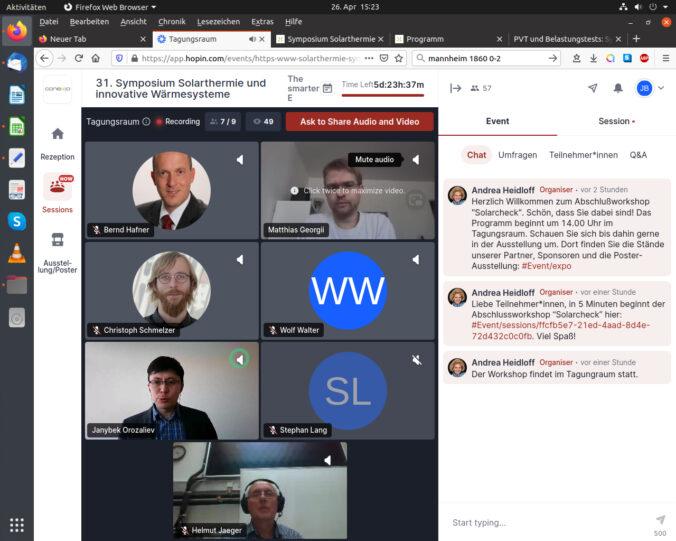 Zu sehen ist das Bildschirmbild des Workshops SOlarcheck beim Symposium Solarthermie.