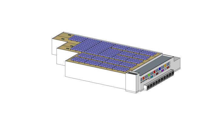Zu sehen ist eine Grafik für Deutschlands größte Solarthermie-Dachanlage.