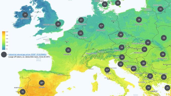 Zu sehen ist eine Europakarte mit Erdgaspreisen