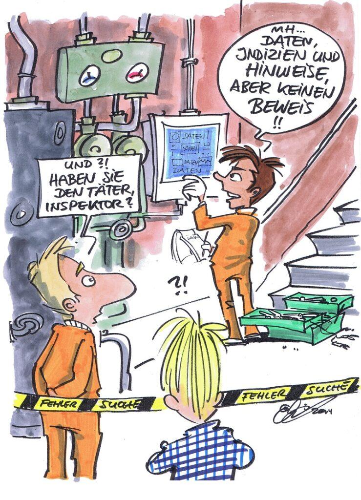 Zu sehen ist eine cartoon zur fehlersuche bei Solarheizungen von Michaal Hüter.