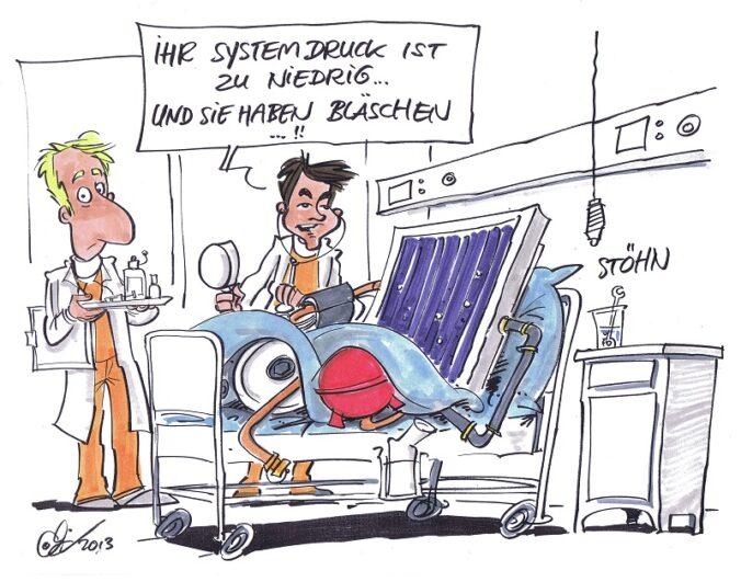 Zu sehen ist ein Cartoon zum richtigen Befüllen von Solarthermie-Anlagen