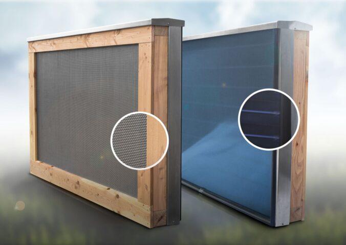 FASA AG bietet Holzschutzwand mit und ohne Solarkollektoren an. Foto: FASA AG